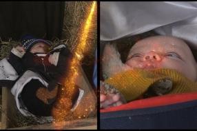 Gezocht baby's die figureren als Jezus in de kribbe op Tweede Kerstdag